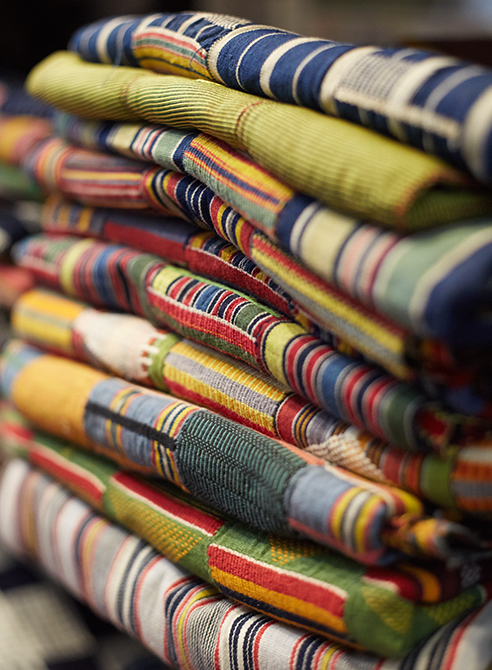 Folded pile of Vintage African Textile
