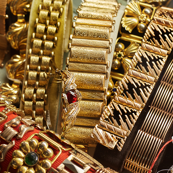 collection of 1940s gold bracelets