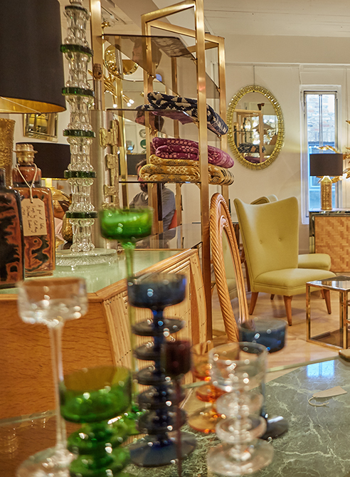interior of a furniture shop with various different items