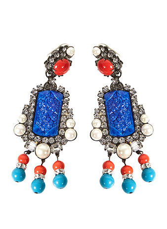 vintage blue and orange drop earrings