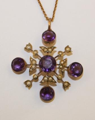 A Pendent With Amethyst & Natural Pearls