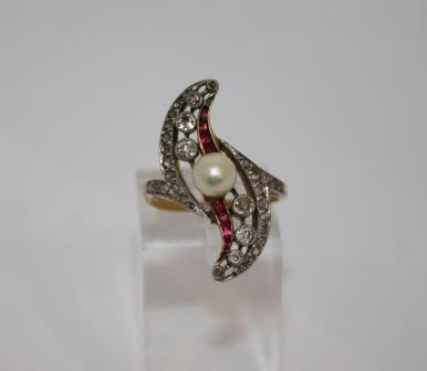 Pear and Ruby Diamond Ring