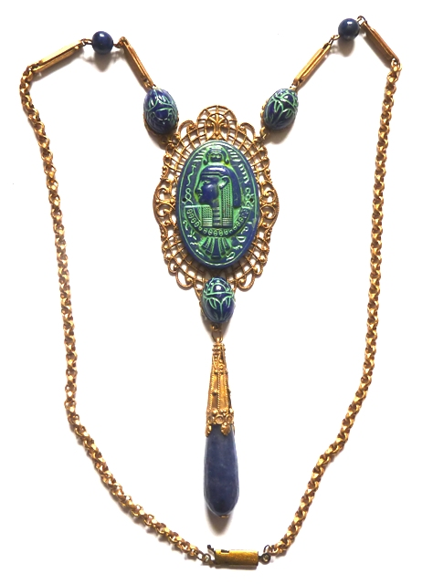 Egyptian Revival blue green glass necklace