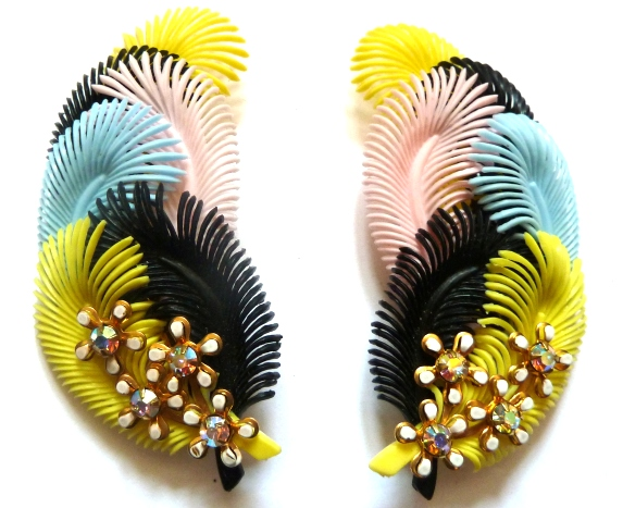 celluloid feather earrings