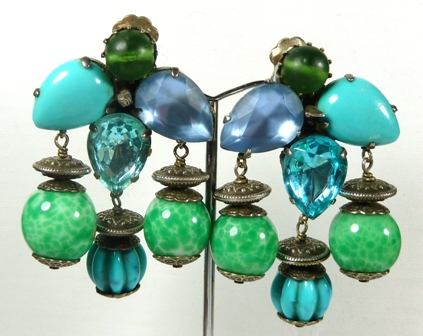 St Tropez  blue clip earrings