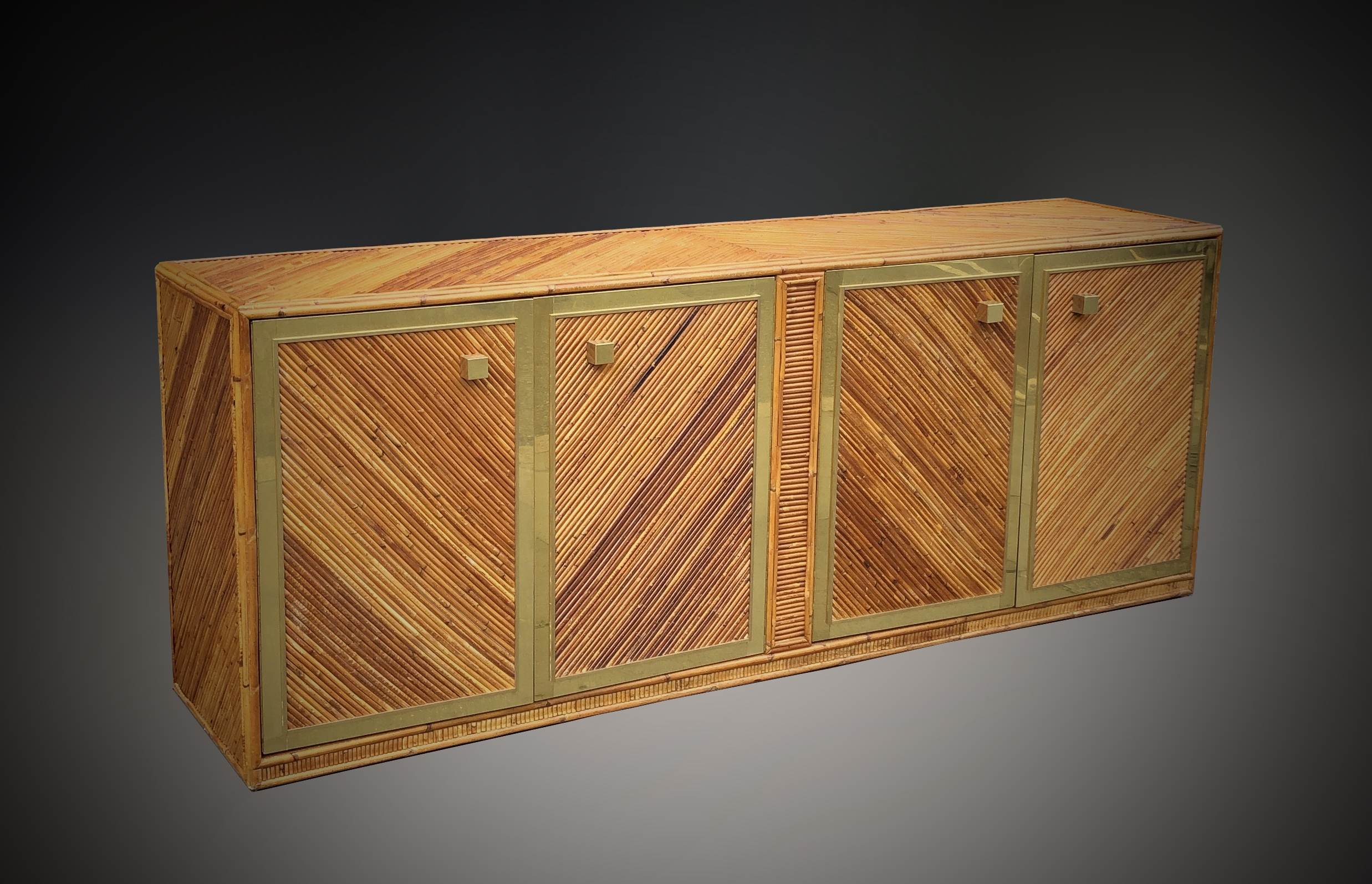 Italian reed and brass sideboard