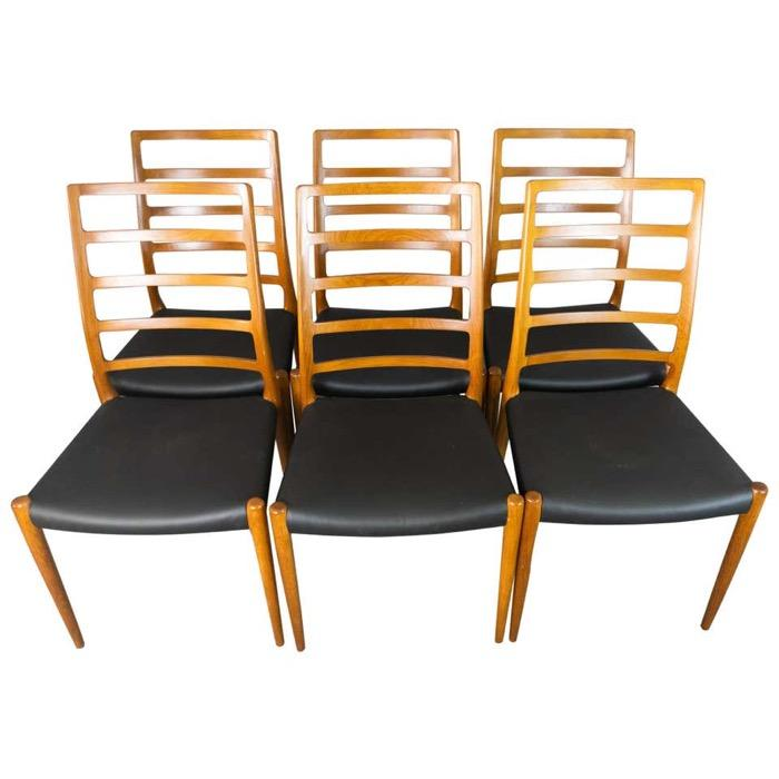 Set of 6 Model 82 Teak Ladder Back Dining Chairs by Niels O. Moller